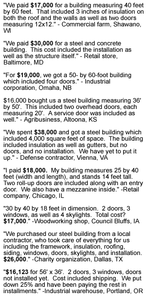 Recent Pricing Steel Buildings
